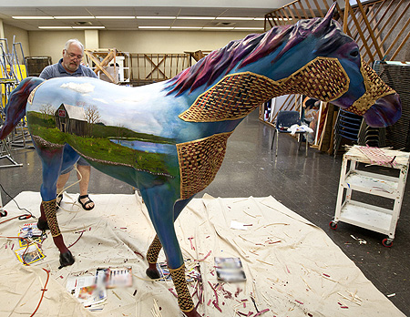Herb Goodman working on LexArts horse